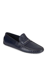 Galliano Perforated Leather Moccasins Blue Suede