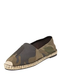 Valentino Camouflage Canvas Slip On Loafer Green