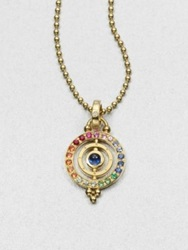 Temple St. Clair Mixed Sapphire And 18K Yellow Gold Dual Ring Pendant Gold Multi