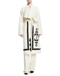 Ralph Lauren Embroidered Double Face Wool Wrap Coat Ivory