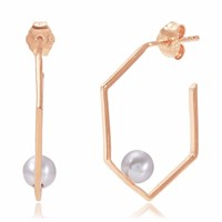 Neola Minerva Rose Gold Earrings With Grey Pearl