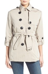Burberry Women's Brit 'Knightsdale' Belted Drop Tail Hooded Trench Coat Stone
