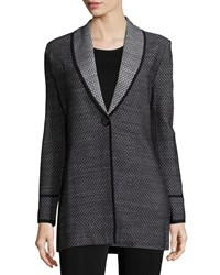Misook Textured One Button Long Jacket Mink Black Platin