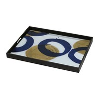 Notre Monde Gold And Blue Halos Glass Tray