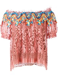 Peter Pilotto Embroidered Lace Bardot Top Pink Purple