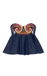 Holly Fulton Nusch Embellished Denim Ruffle Bustier Blue