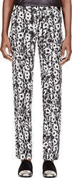 Kenzo White And Black Softcrepe Daisy Print Trousers