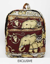 Reclaimed Vintage Elephant Tapestry Backpack Red