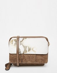 Glamorous Cross Body Bag In Faux Snake Brown