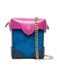 Manu Atelier Pink And Blue Pristine Micro Leather Bag