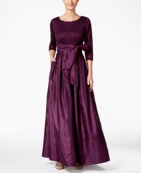 Jessica Howard Lace A Line Gown Eggplant