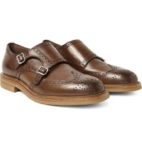 Brunello Cucinelli Leather Monk Strap Wingtip Brogues Brown