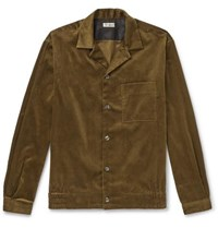 Camoshita Camp Collar Cotton Corduroy Overshirt Brown