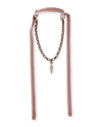 Hipchik Ada Arrowhead Necklace With Velvet Ties Pink