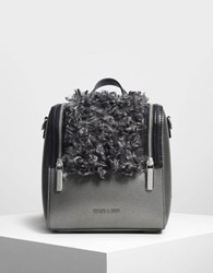 Charles And Keith Zipper Detail Backpack Pewter