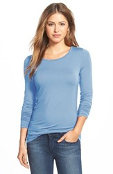 Halogenr Women's Halogen Long Sleeve Modal Blend Tee Blue Cashmere