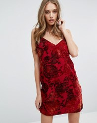 Missguided Cami Dress In Floral Velvet Red