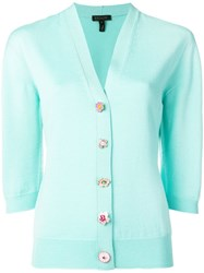 Escada Mismatched Button Cardigan Blue