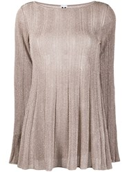M Missoni Transparent Knit Top Gold