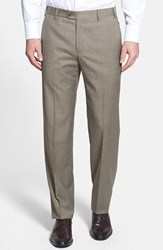 Men's Big And Tall Zanella 'Devon' Flat Front Wool Trousers Beige