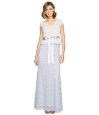 Adrianna Papell Nouveau Scroll Lace Gown Light Blue Ivory Women's Dress