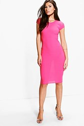 Boohoo Textured Bodycon Midi Dress Coral