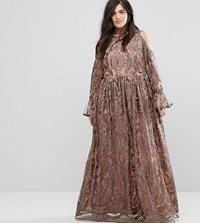 Truly You Cold Shoulder Premium Embroidered Maxi Dress Grey