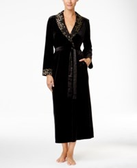 Thalia Sodi Lace Trimmed Velour Long Robe Only At Macy's Deep Black