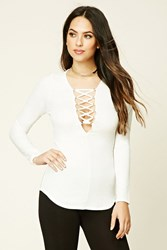 Forever 21 Plunging Lace Up Top