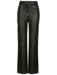 Y Project Bottle Green Leather Coated Trousers