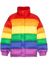 Burberry Rainbow Feather Down Puffer Jacket Red