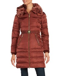 Vince Camuto Faux Fur Trimmed Down Puffer Coat Rust