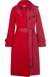 Sacai Melton Wool And Cotton Gabardine Trench Coat Red