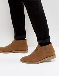 New Look Faux Suede Desert Boots In Tan Stone
