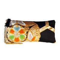 Mame Huku Zip Clutch Handbag Chiasu Black White Blue