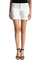 Liverpool Jeans Company Women's Vickie Distressed Denim Shorts Bright White Destruct