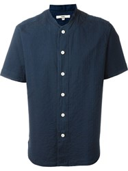 Ymc Woven Stripe Short Sleeve Shirt Blue