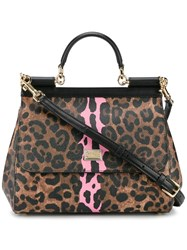 Dolce And Gabbana Medium Leopard Print Sicily Bag Brown
