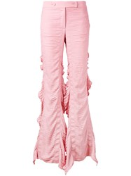 Marco De Vincenzo Flared Frill Trousers Women Polyester 40 Pink Purple