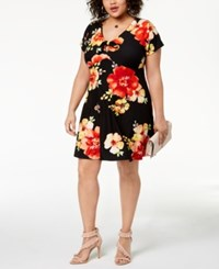 Planet Gold Trendy Plus Size Printed Keyhole Dress Black Beauty