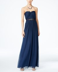 Adrianna Papell Strapless Ruched Gown Midnight