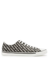 Vetements Logo Low Top Leather Trainers Black White