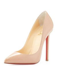 Christian Louboutin Pigalle Patent Leather Red Sole Pump Nude Beige
