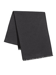 Saks Fifth Avenue Black Double Faced Brushed Silk Scarf Black Charcoal