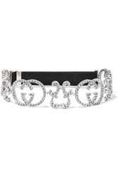 Gucci Crystal Embellished Silver Tone And Stretch Headband One Size