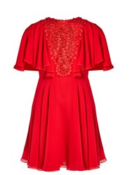 Giambattista Valli Lace Panelled Ruffled Silk Georgette Dress Red
