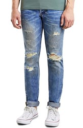 Men's Topman Ripped Skinny Jeans Light Blue