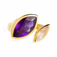 Neola Celestine Gold Ring Amethyst And Rose Quartz
