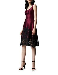 Kay Unger Lace Applique Silk Blend Fit And Flare Dress Wine Black