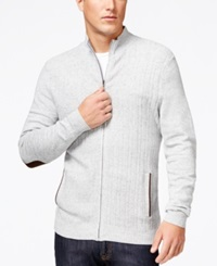 Tasso Elba Big And Tall Ribbed Full Zip Elbow Patch Sweater Only At Macy's